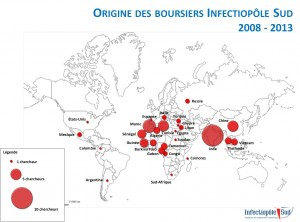 Les origines des boursiers Infectiopôle Sud